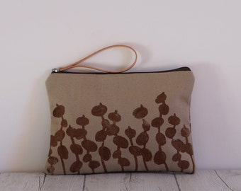 Hand printed fabric clutch-drawing lilitus Brown