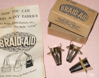 Vintage Set of three 3-Way Braid-Aid Tools in Original Box with Instructions