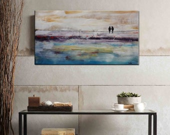 Large Wall Painting, Large Oil Painting, Love Birds Painting, Canvas Art, Framed Art, Abstract Art, Bedroom Wall Art, Large Oil Painting C