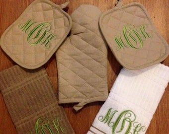 Monogrammed Kitchen Towel Set- Single row stripes towel