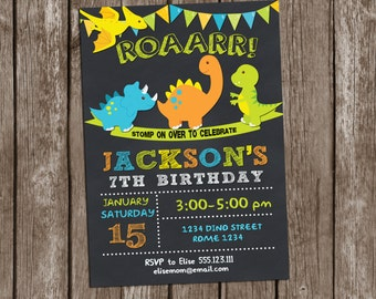Dinosaurs Birthday Invitation, Dinosaurs Invitation,Dinosaurs Birthday Party, Boys Birthday Party Printable