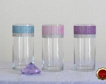 Wedding Centerpiece, Rhinestone Cylinder Vase, Bling Candle Holder, Rhinestone Vase, Floating Candle Vase, Pink, Teal, Purple & Silver