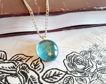 The Rosalina Super Mario Galaxy Fairy Stone Necklace , Glass Stone Charm, Gamer Jewelry, Blue Stone Necklace, Novelty, Fandom, Geek Chic