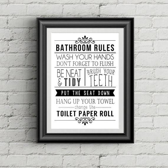 Bathroom wall decor funny bathroom art bathroom rules bathroom for Bathroom decor rules