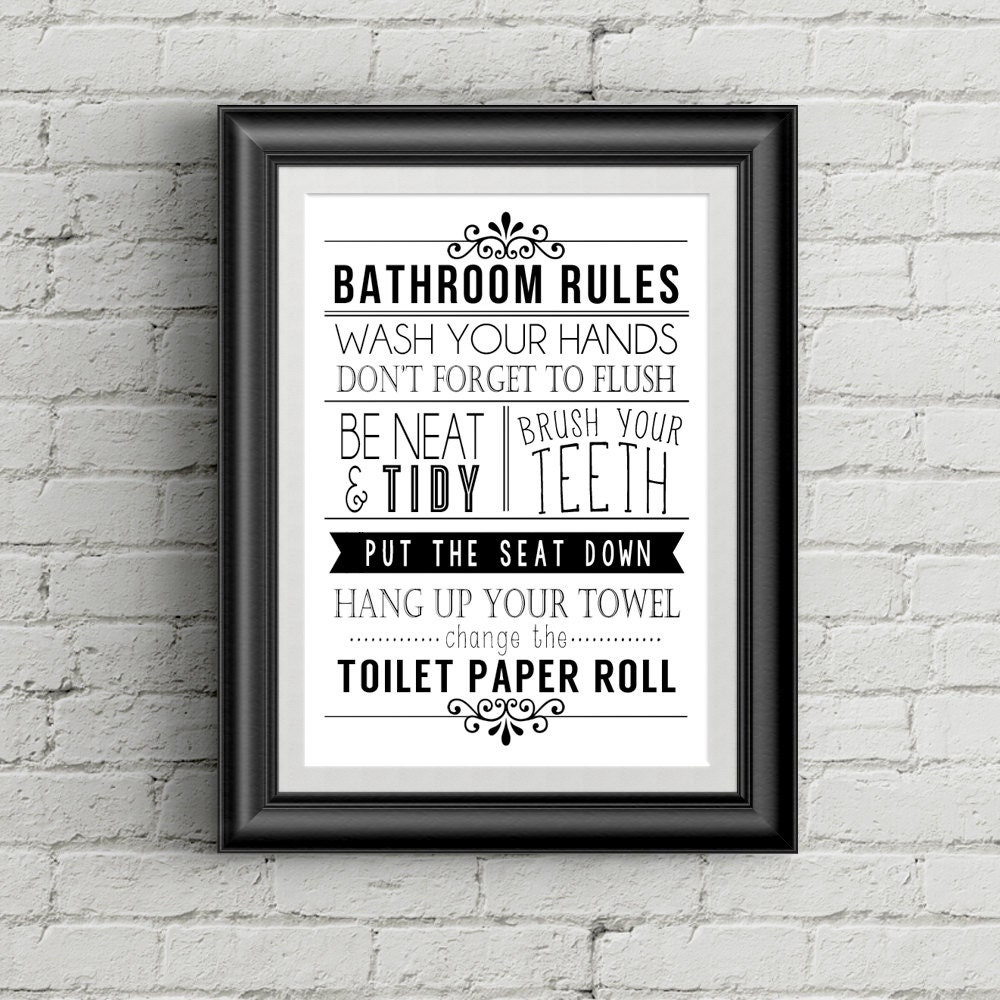 Bathroom Rules Wall Decor : Bathroom wall decor funny art rules