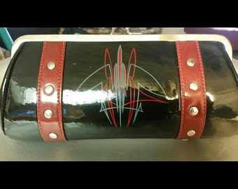 Gloss black and maroon metal flake clutch with custom pinstriping and removable chain strap