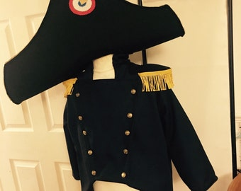 Made to order 1800s french police costume jacket and hat only colonial soldier les mis Javert military cosplay fancy dress up role play larp
