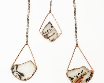 """Rough Agate Slice """" Seismic"""" Necklace"""