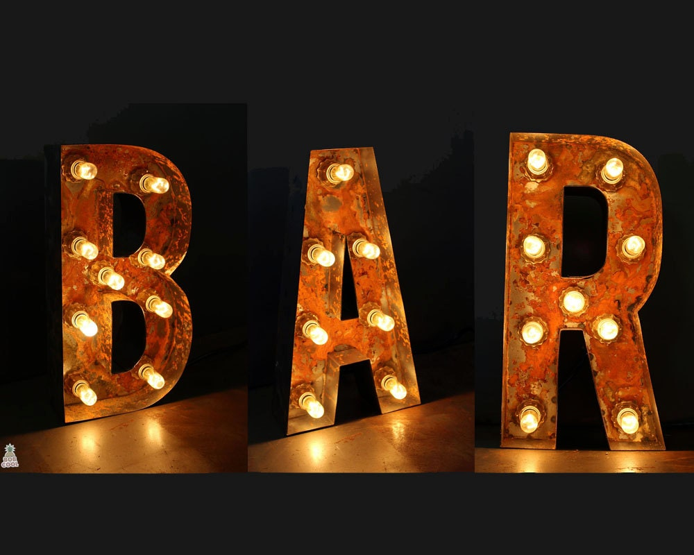12 30cm tall rustic metal letter lights custom made for Metal letters with lights
