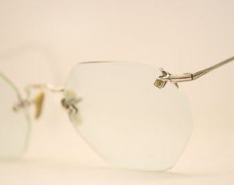 Antique Rimless Eyeglasses White Gold Filled Vintage Eyeglass Frames 206