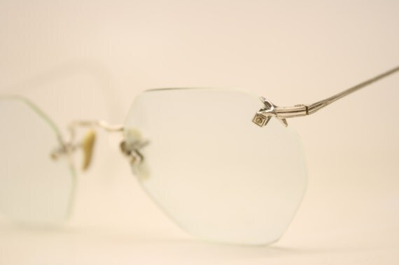 Antique Rimless Eyeglasses White Gold Filled Vintage Eyeglass