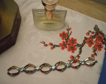 Coro Link Bracelet, Mid Century Costume Jewelry, Aqua/Blue Rhinestones/Large Link Bracelet,Vintage, Goldtone Metal Jewelry, Gift for Her