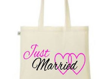Just married heart print design - cute printed tote/shopper bag - wedding/married/hen night/hen party