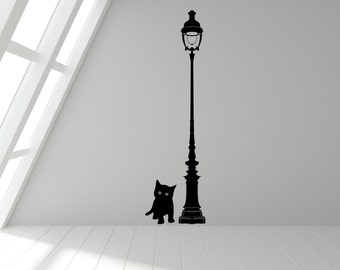 Kitten & Lamp Post Wall Art Sticker Decal - Any Colour or Size(#27)