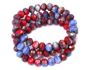 Red Blue opaque swirl 6 x 9mm rondelles. Set of 12 or 25.