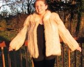 Short Beige Fox Jacket, Short Fur Jacket, Short Fur Coat, Gift for Her, White Beige Fox Fur, Boho Chic Fur Coat, laslovelies