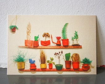 Postcard ''''Little Plastic Soup Plants'': upcycled vintage beachtrash design
