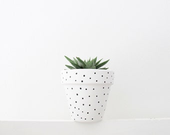 Hand Painted Plant Pot - White Spot