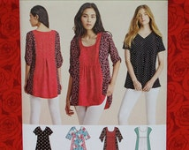 Simplicity Easy Sewing Pattern 8052, Tops, Sizes XXs Xs S M L Xl XXL, Contrast Panel Blouse, Loose Fit, Hi-Lo Hem, DIY Boho Chic Gift, UNCUT