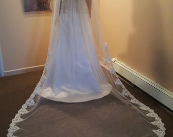 Bridal Cathedral Veil Light Ivory with Pearl Sequin Lace