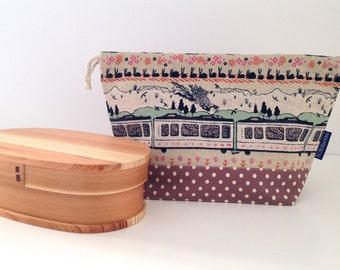 Country train ride bento bag / drawstring bag / lunch bag /snack bag