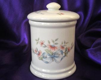 Princess House Vanity Jar, Porcelain Accessory Jar, Blue Ribbons Pink Floral Pattern