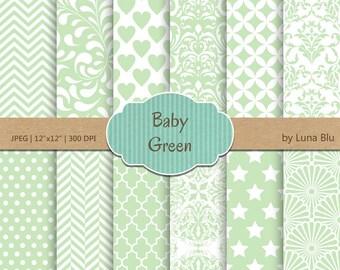 "Baby Green Digital Paper: ""Baby Green Patterns"" soft green, light green, pale green, pastel green, for invitations, scrapbooking, cardmaking"