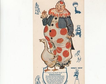 Clown Childrens Party Decoration That Mounts On A Paper Cup 1939