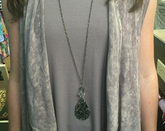 Antique Brass & Crystal Necklace
