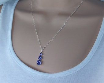 Swarovski crystal sapphire pendant necklace on sterling silver chain.Beautiful rich blue colour.Matching earrings available.