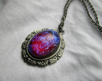 Dragon's Breath Opal Necklace. Mexican Opal Necklace, Victorian Necklace, Gothic Necklace. Fire Opal Necklace