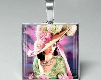 Vintage style Gone With The Wind Scarlett glass tile pendant jewelry