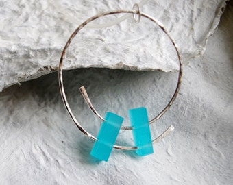 Sterling Silver Spiral Necklace with Light Blue Acrylic / Plexi, Geometric Pendant, Modern Jewelry, Abstract Necklace, Unique Jewelry