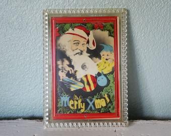 Strange Vintage Christmas Lenticular 3-D photo