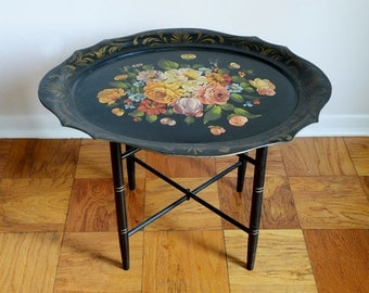 Beautiful Vintage Tole Tray Hand Painted Flower Table