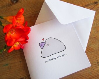 I'm sticking with you - illustrated cute card with rock and limpet