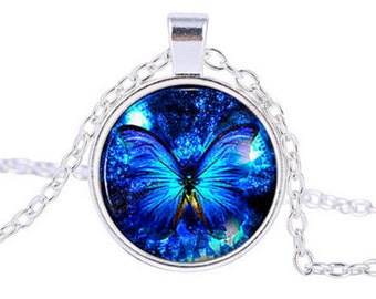 Blue Butterfly Cabochon Silver Pendant Necklace.