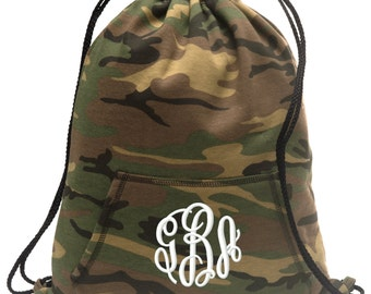 Sweatshirt material cinch bag with front pocket and embroidered spirit design - Monogrammed - Multiple Colors - Camouflage - BG614