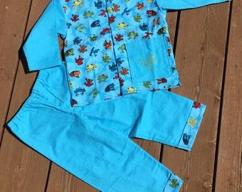 Children's Flannel Pajama. Handmade Frog Pajamas,  Size 3