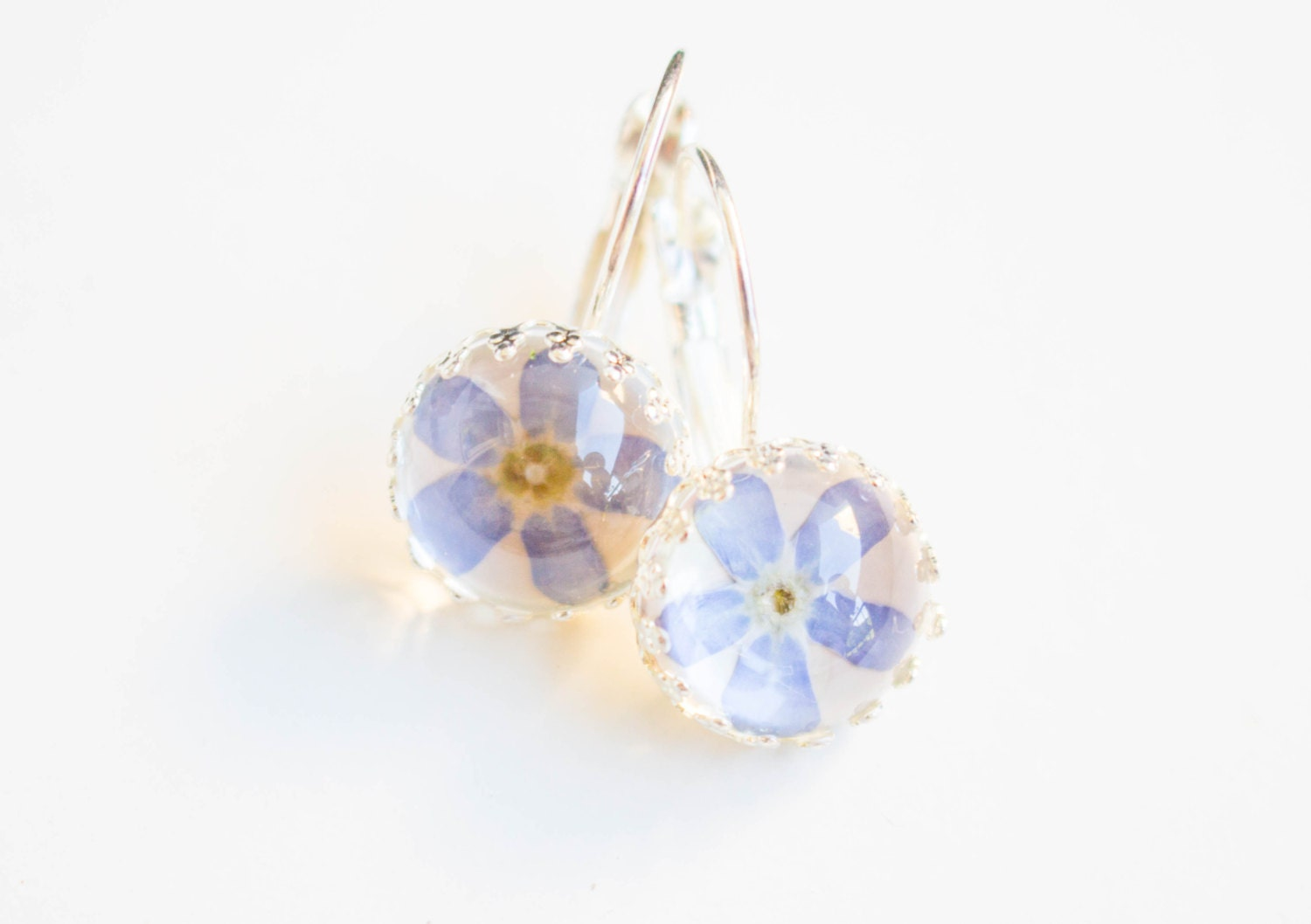 real forget me not earrings cabochon earrings real flower