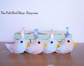 Felt birds. Baby nursery decor, Baby shower birds. Cute birds. Pastel colors birds.  Felt birds. Felt ornaments.