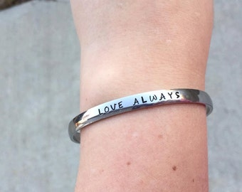 Hand Stamped Stainless Steel Bangle Bracelet
