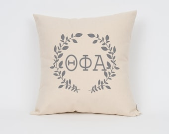 Theta Phi Alpha Wreath Pillow // Choose Your Ink Color // Greek Letter Pillows // Sorority Pillow // Big Little Gift // Sorority Letters