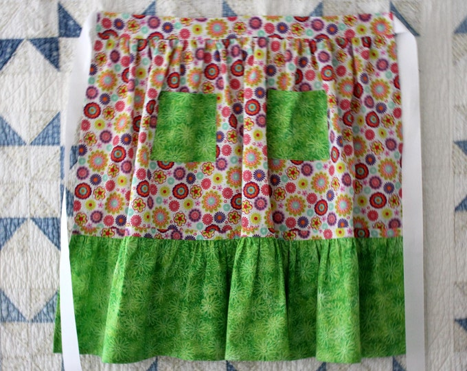 HALF PRICE ** Multi Color Mod Floral Half Apron. Lime Ruffle and Pockets on Boho Half Apron. Matching Girl's Apron Available