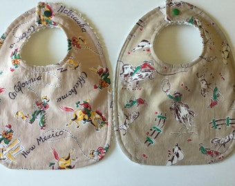 Cowboy Western Baby Boys Toddler Bibs Set Of Two Ready To Ship