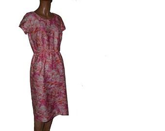 Parkshire Original Floral Wiggle dress Pink Floral Waist Bow S M