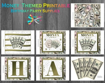 Money Theme Printable Party Supplies