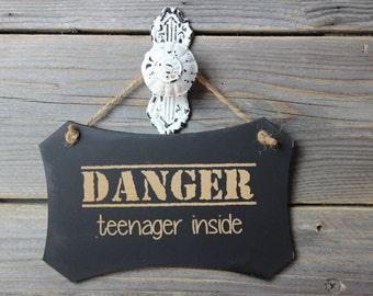 chalkboard, laser engraved,hanging sign,sign,chalkboard sign,teenager,funny,humor,danger,door knob,door knob hanger