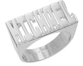 SNS133 - Sterling Silver 10mm Large Block Letter Plain Name Ring
