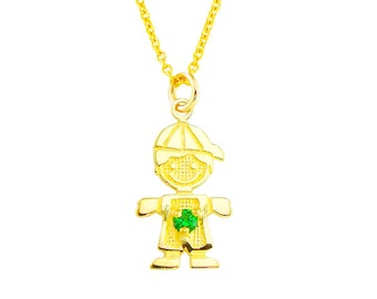 "SBoy-May2  - 14K Yellow Gold 1/2"" May Birthstone Boy Charm Necklace"